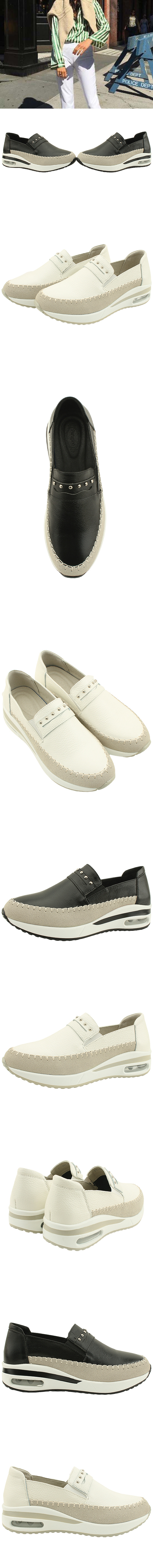 Cowhide Stud Loafers Sneakers White
