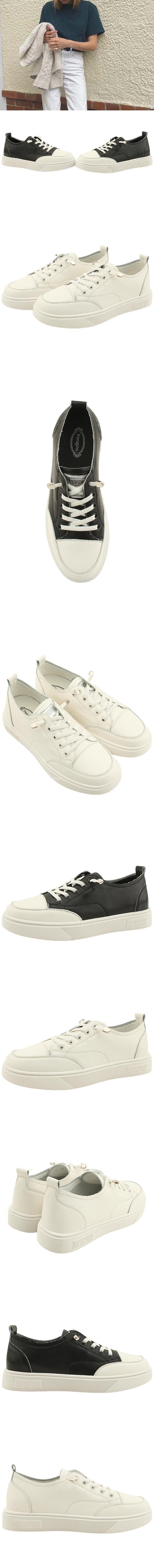 Cowhide Simple Banding Strap Sneakers White