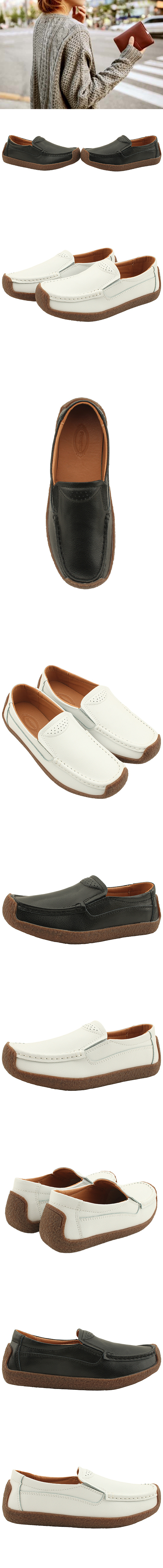 Cowhide Simple Comfort Shoes Loafers White