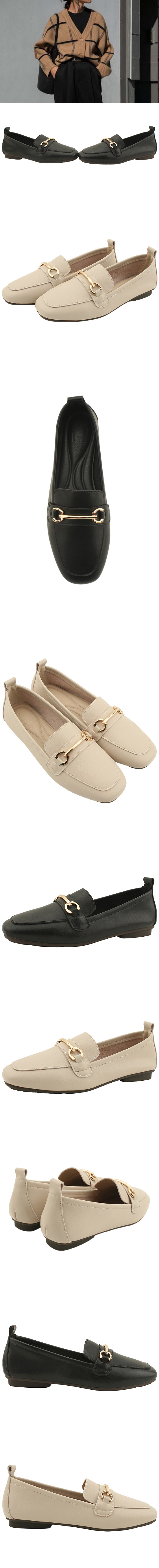 Cowhide Chain Soft Simple Loafers Beige