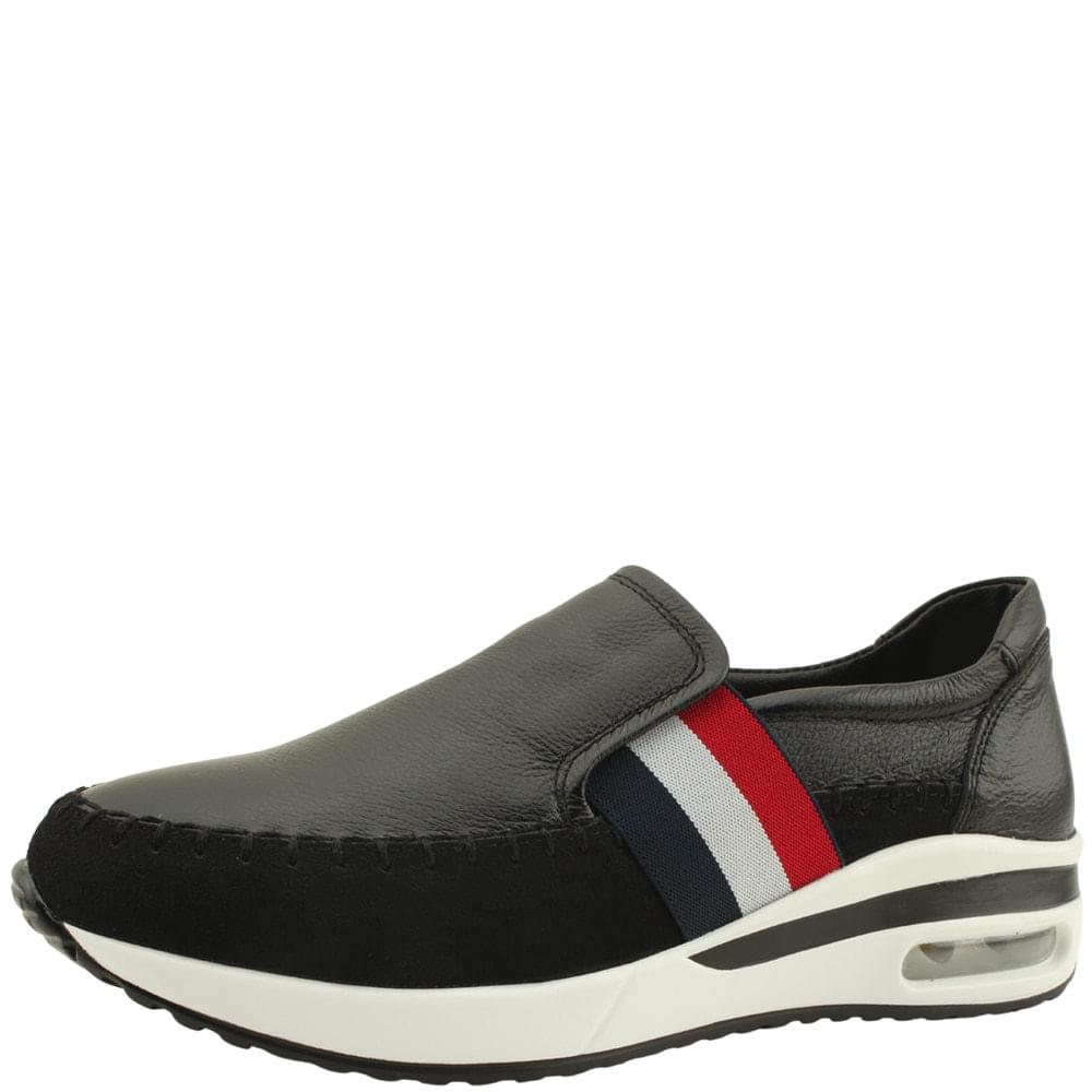Leather 3-wire banding air slip-on black