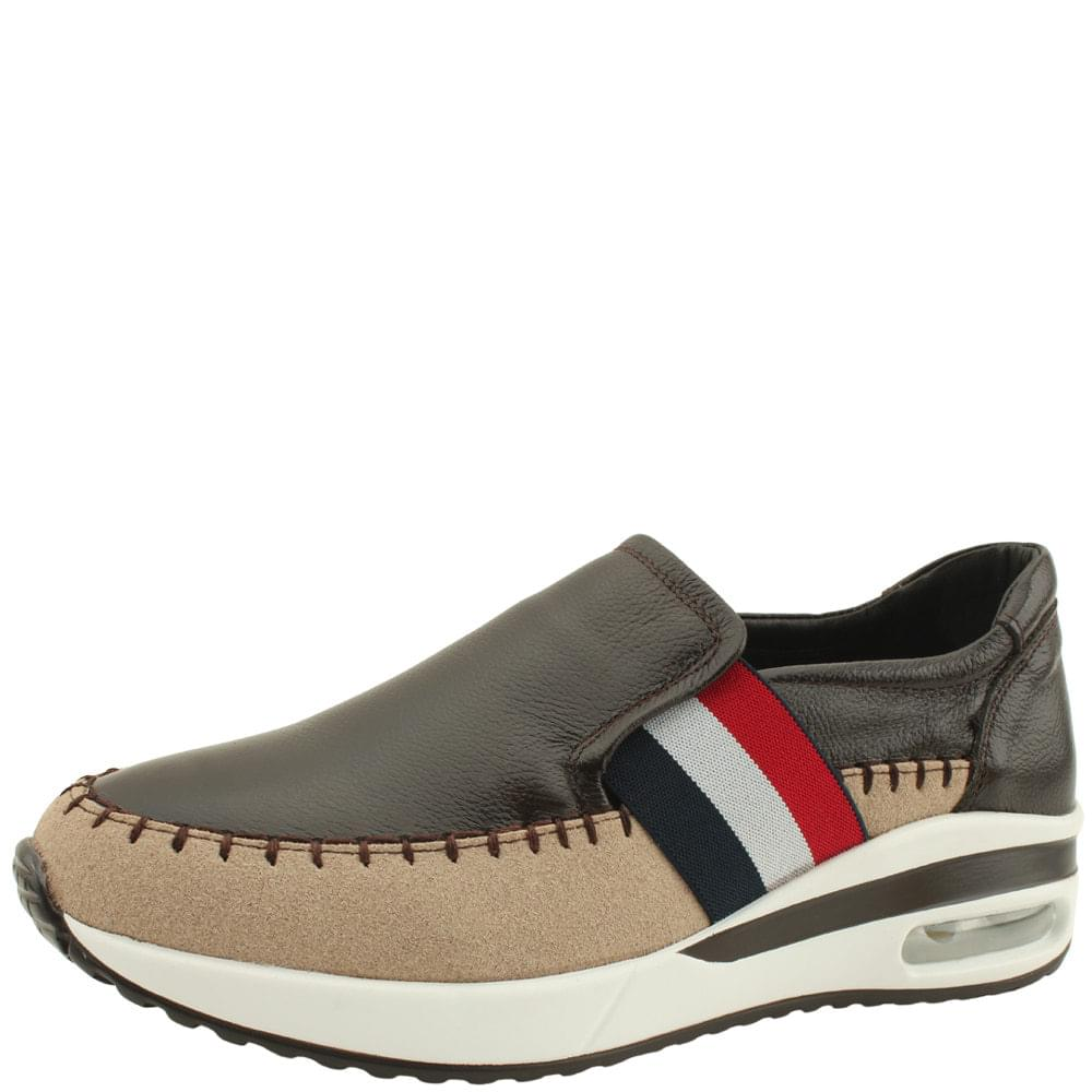 Leather Three-wire Banding Air Slip-on Brown