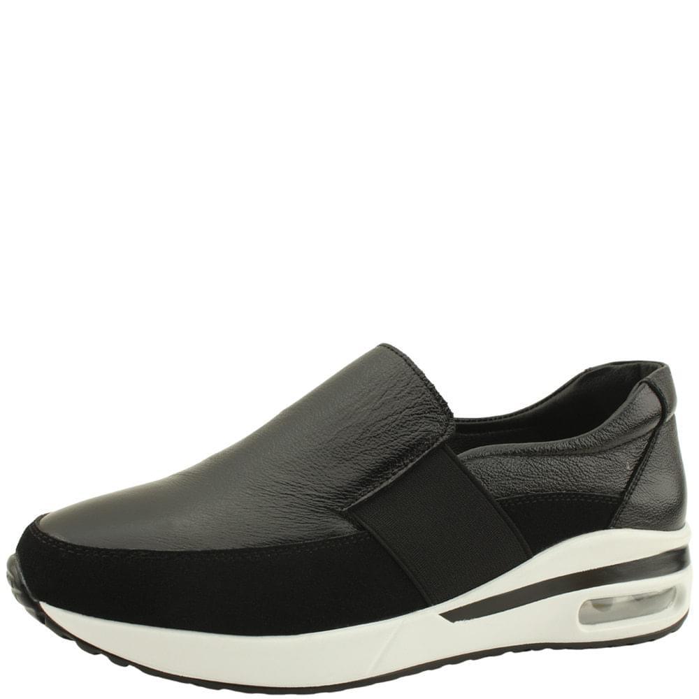 Cowhide Cushioning Air Sneakers Black