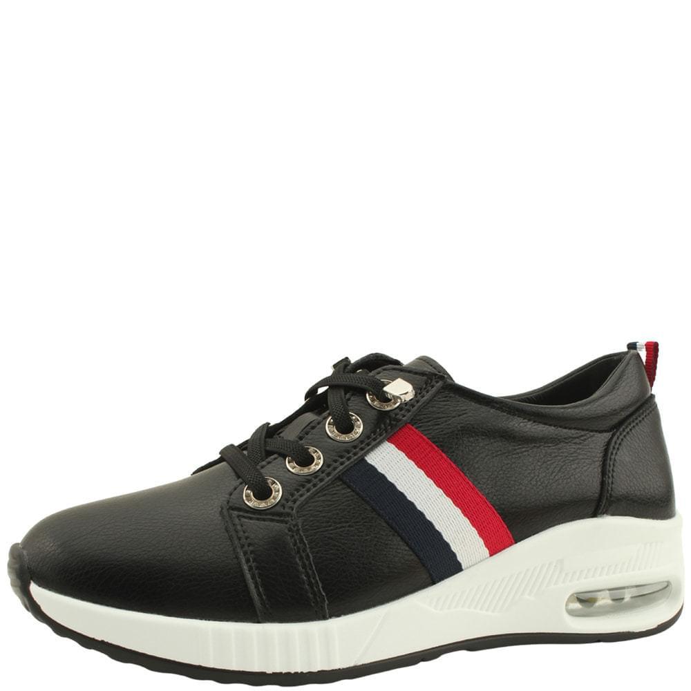 Cowhide Air Casual Sneakers Black