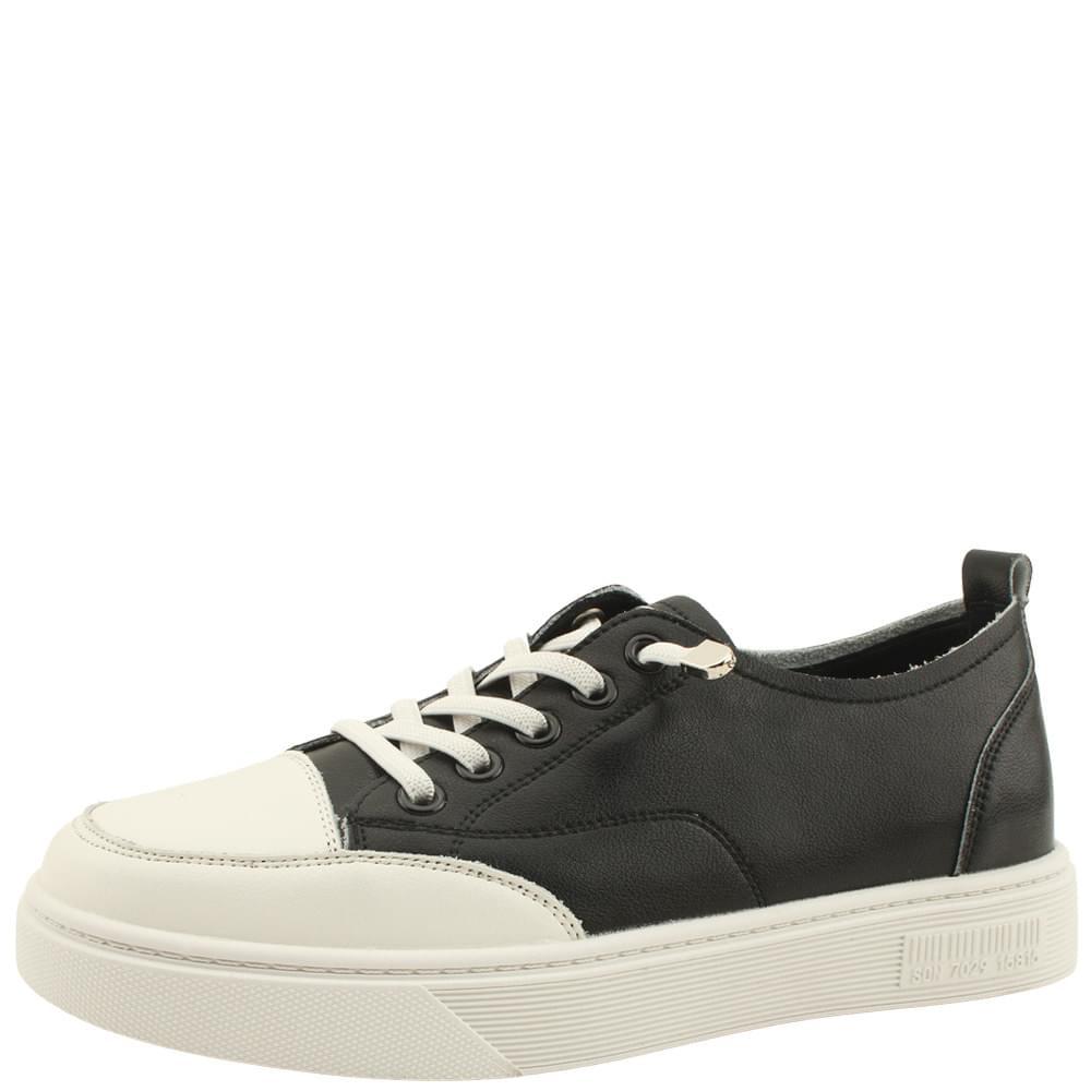 Cowhide Simple Banding Strap Sneakers Black