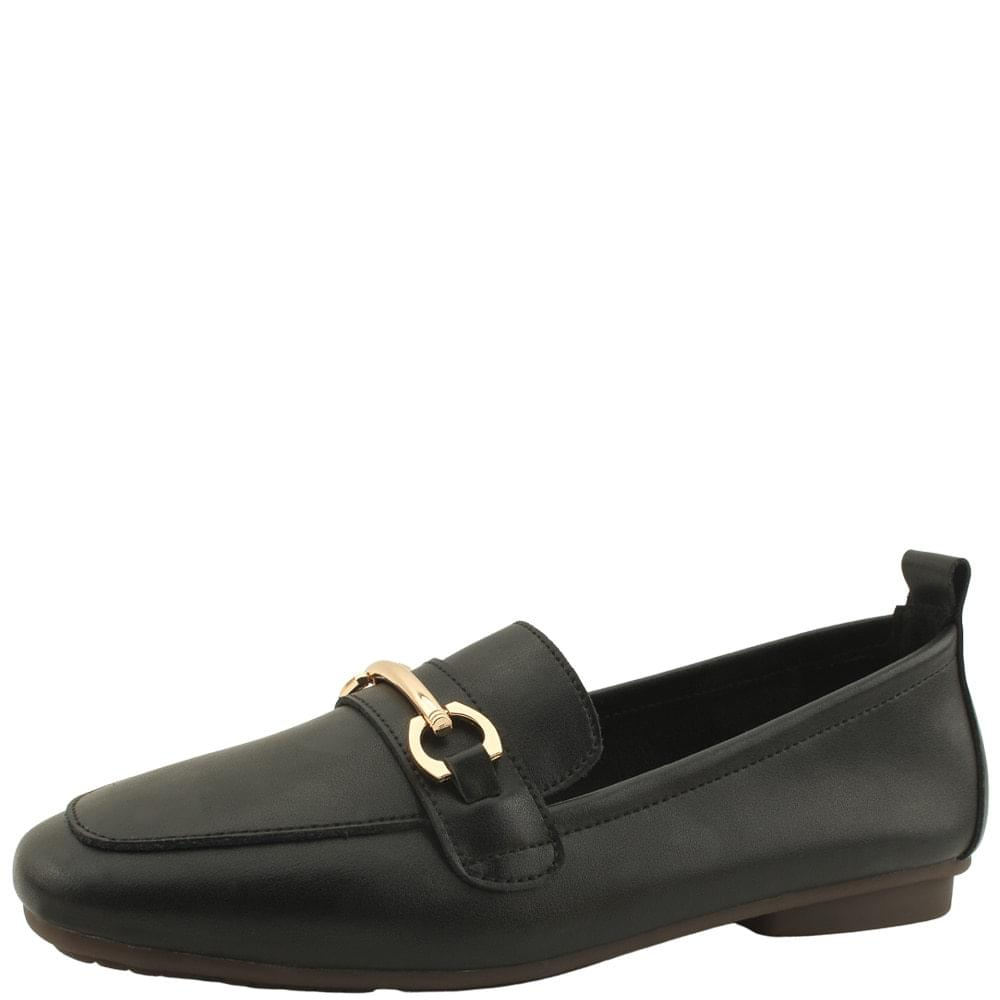 Cowhide Chain Soft Simple Loafers Black