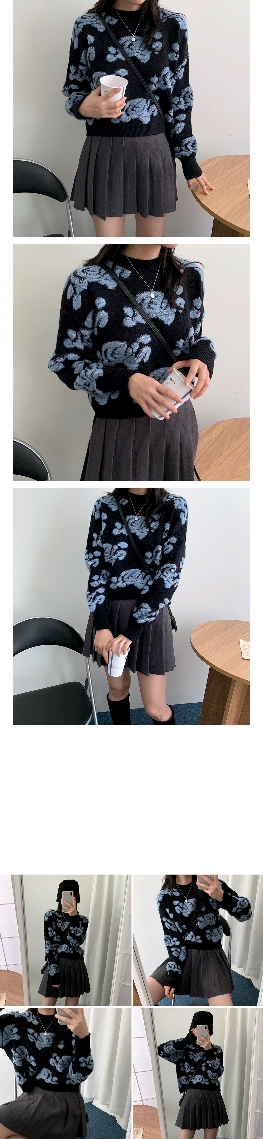 Wool Flower Work Lop Knitwear