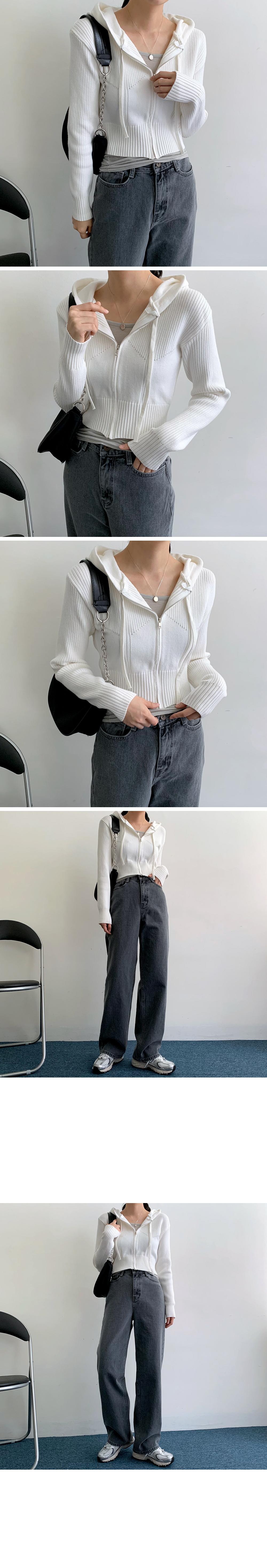 Jetty Crop Hood Knitwear Zip-Up