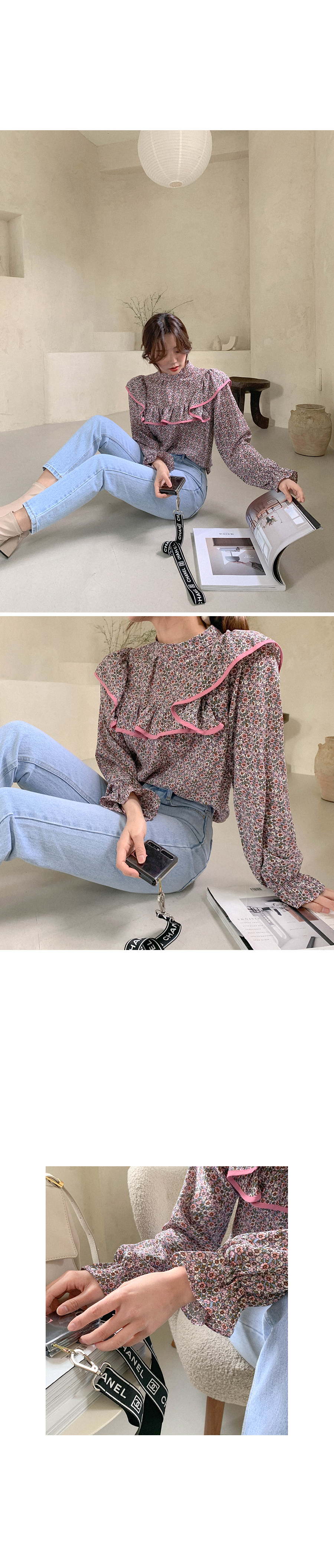 Flowers bloom or color matching frill blouse