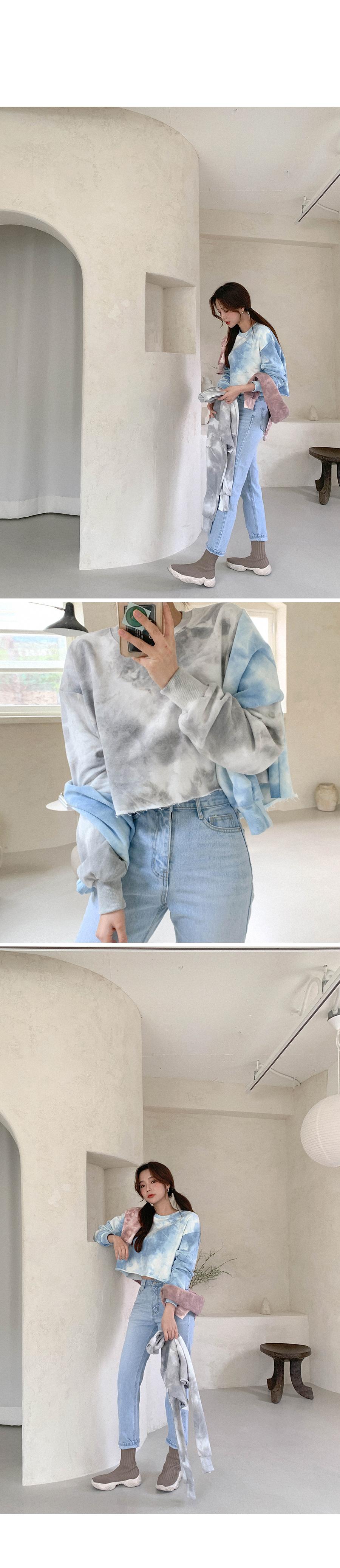 Soft Paint Touch Crop Loose-fit Sweatshirt