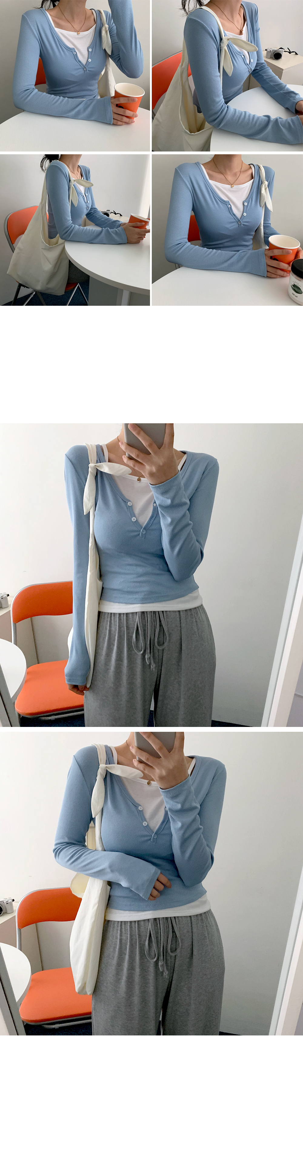 Winner Button V-Neck Cropped Long Sleeve Tee