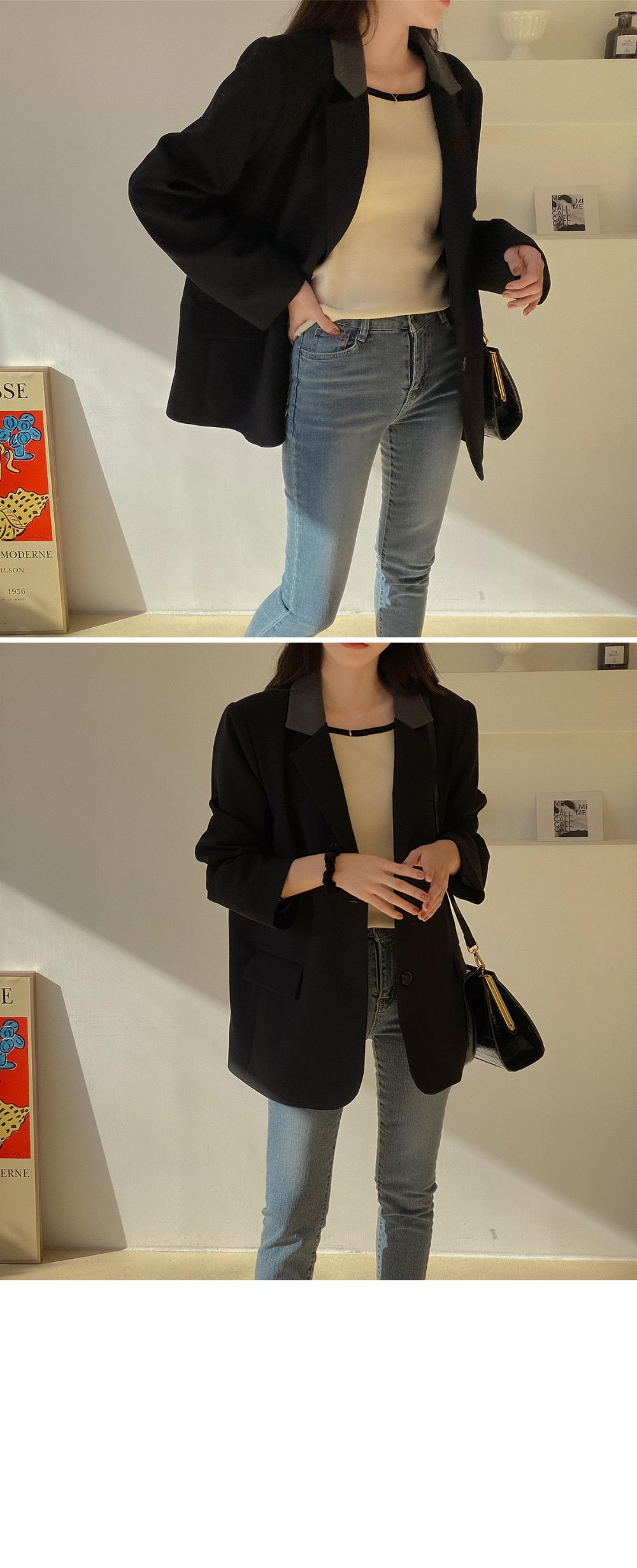 Line Square Neck Knitwear-4color