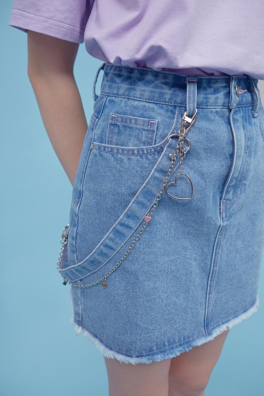 HEART CLUB Blue Strap Accent Mini Skirt