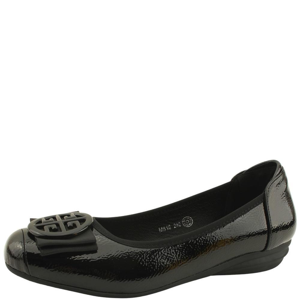 Feminine Ribbon Wedge Heel Loafer Shoes Black