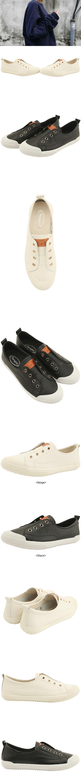 Cowhide Canvas Shoes Flat Sneakers Black