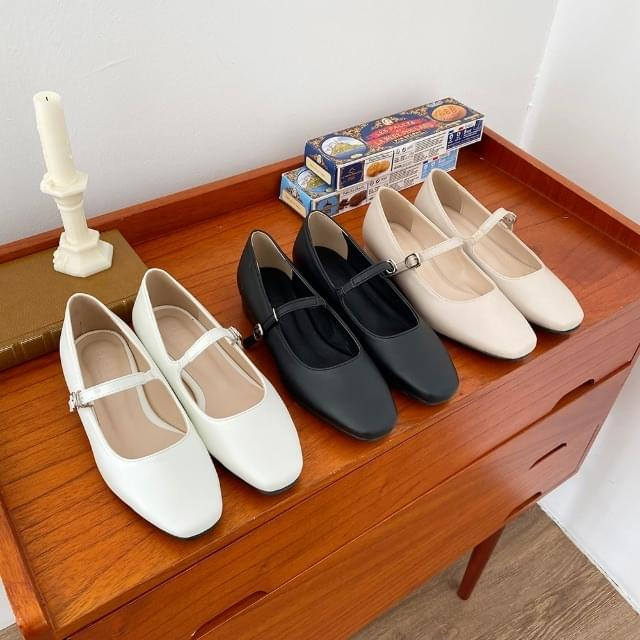 Square Toe Daily Shoes Flat Shoes 2cm