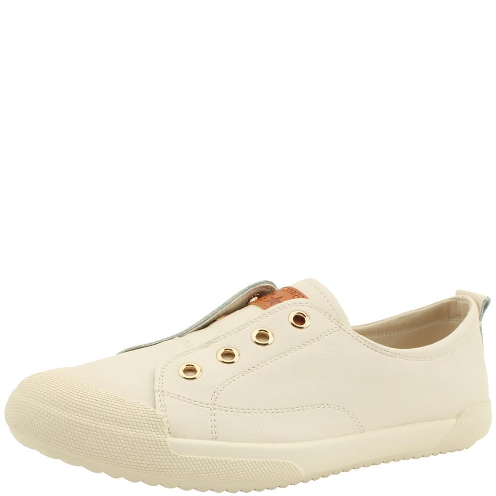 Cowhide Canvas Shoes Flat Sneakers Beige