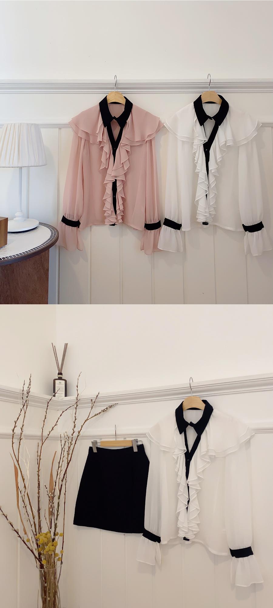 Mood split frill blouse 2color
