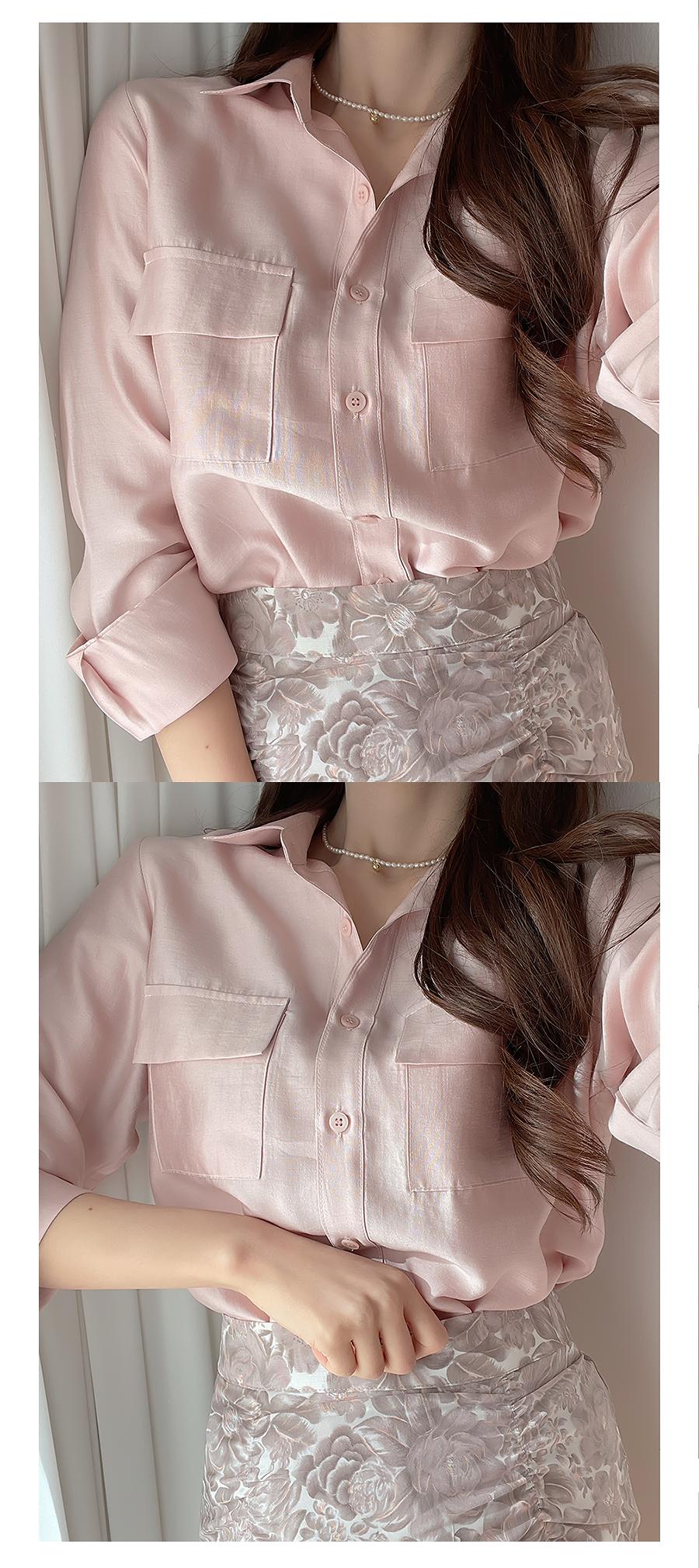 Peach Floral Shirring Mini Skirt 2color