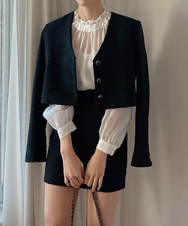 Kind see-through frill blouse 3color