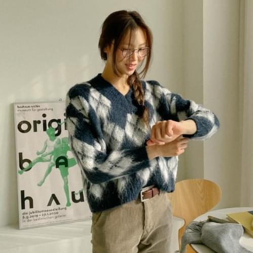 Isabelle Argyle Pattern Wool Knit