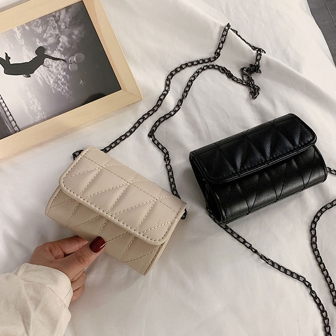 Soft mini black chain crossbody bag