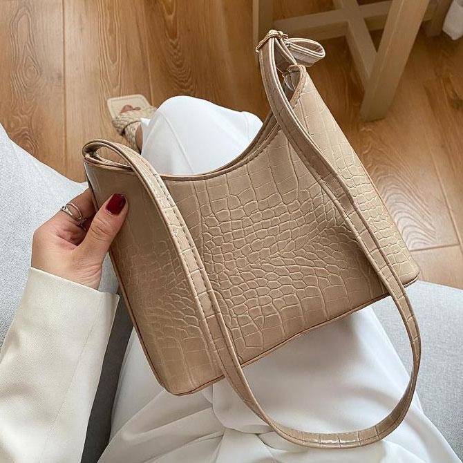 Sucre plain crocodile pattern shoulder bag