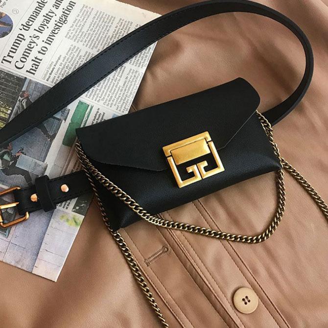 Leather belt chain mini fashion shoulder bag