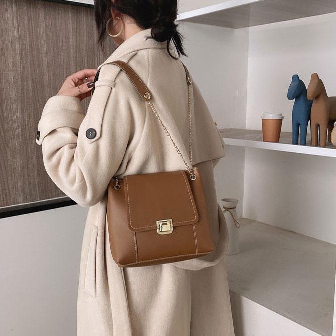 Rev Luxury Bucket Chain Stitch Shoulder Bag