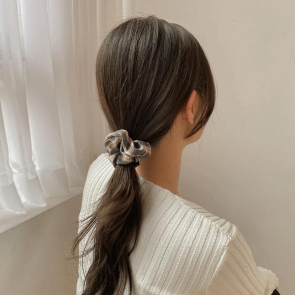 Set of 30 Winter Mink Velvet Check Hair Straps Gopchang Band