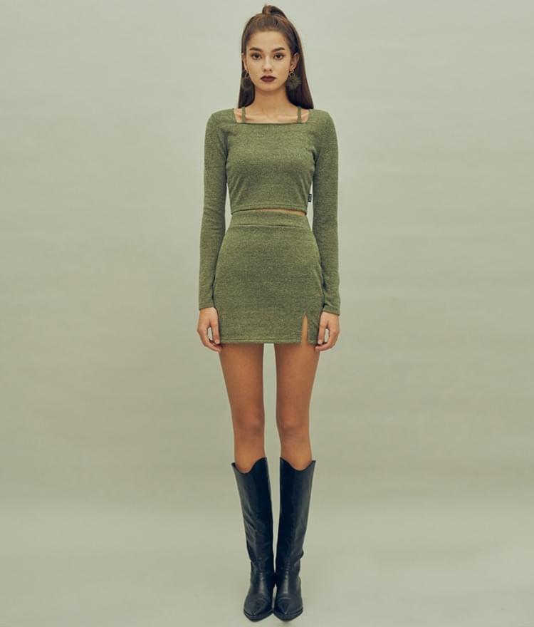 HIDE Strap Top HIDE Slit Skirt (Olive)SET