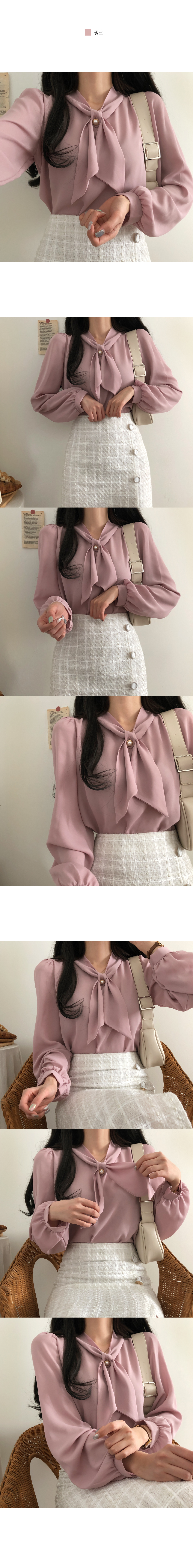 Sunny pearl button scarf blouse