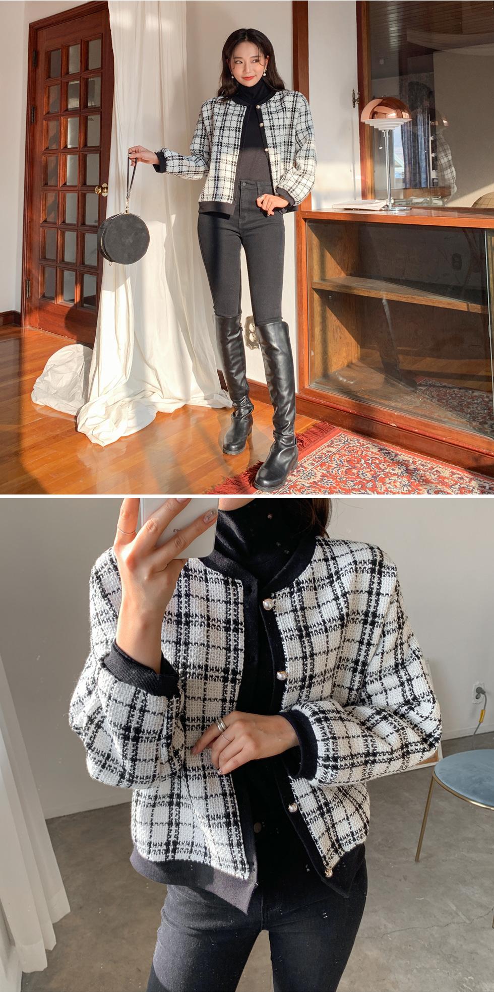 Tweed check cardigan