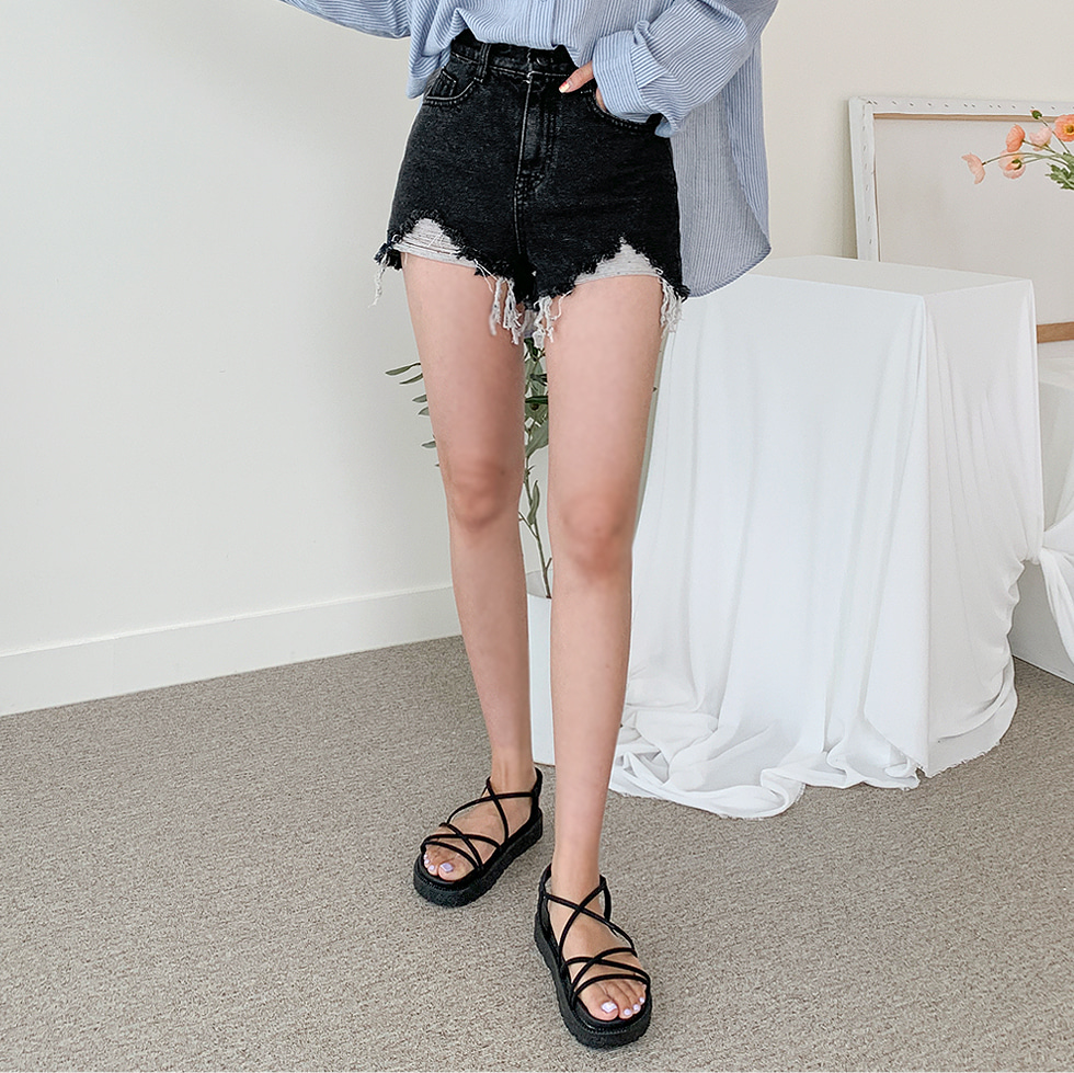 Demi rip short pants