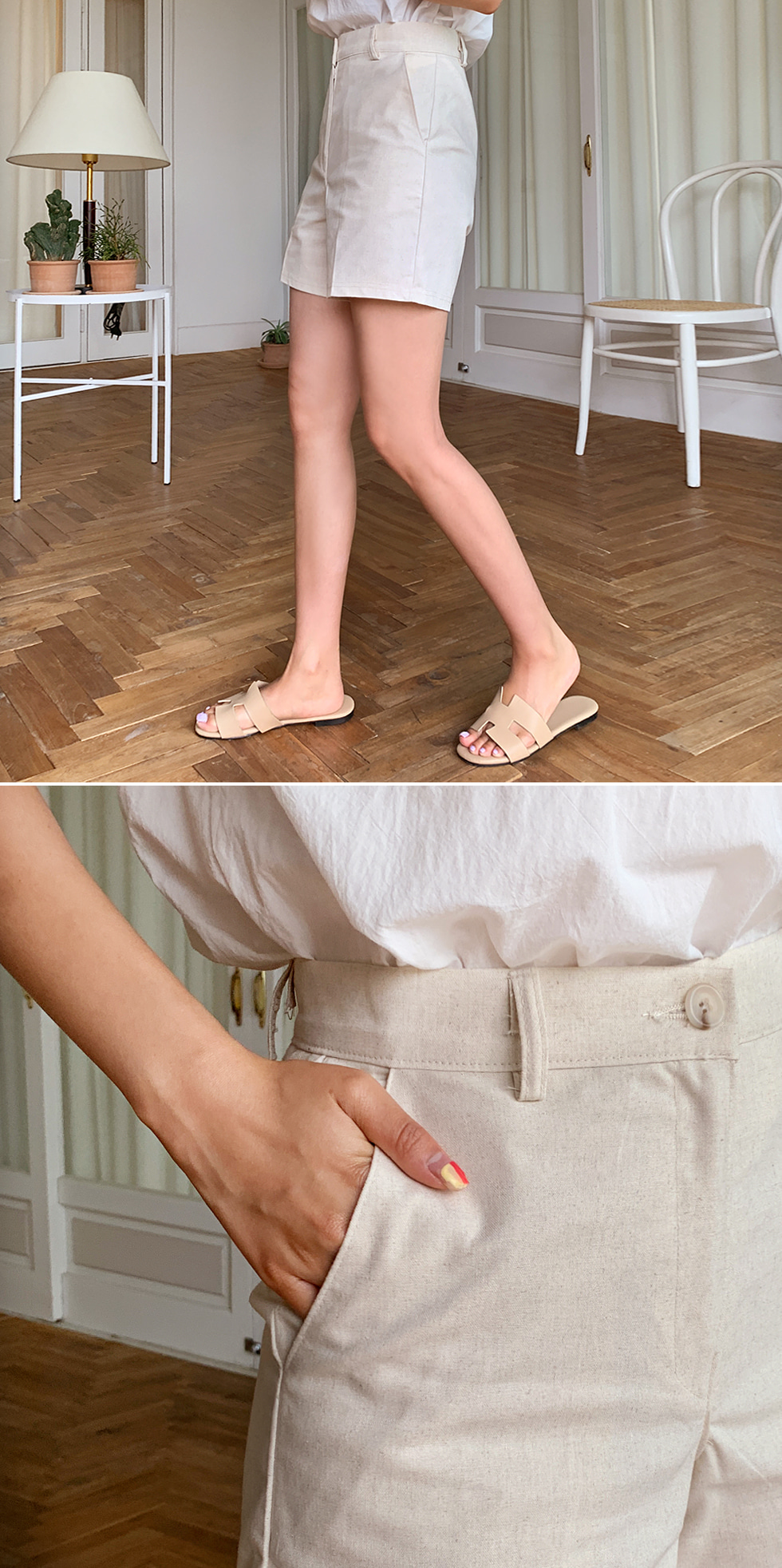 Linen Center Half Pants