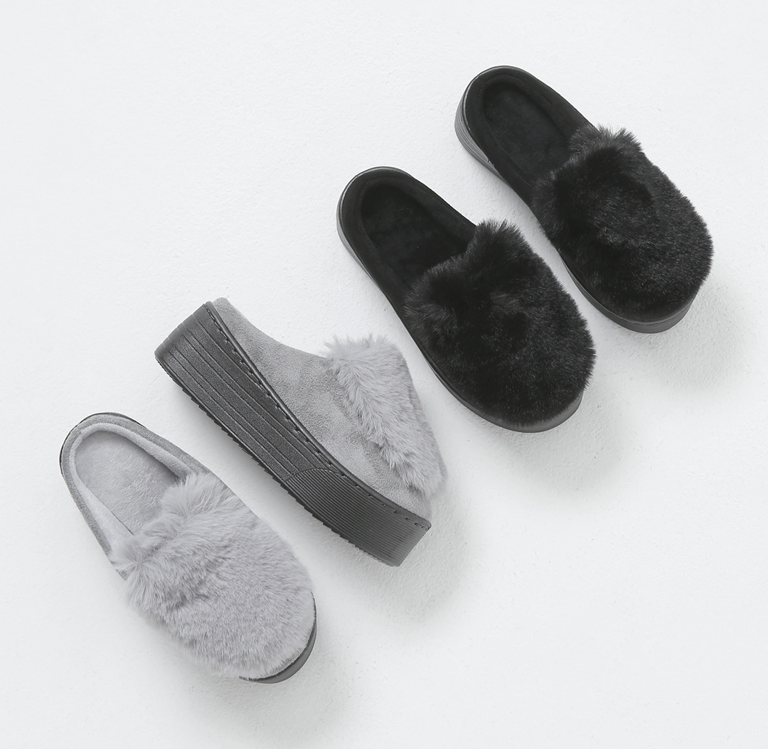 Whistle full-heeled fur slippers NE WTACR4b80600