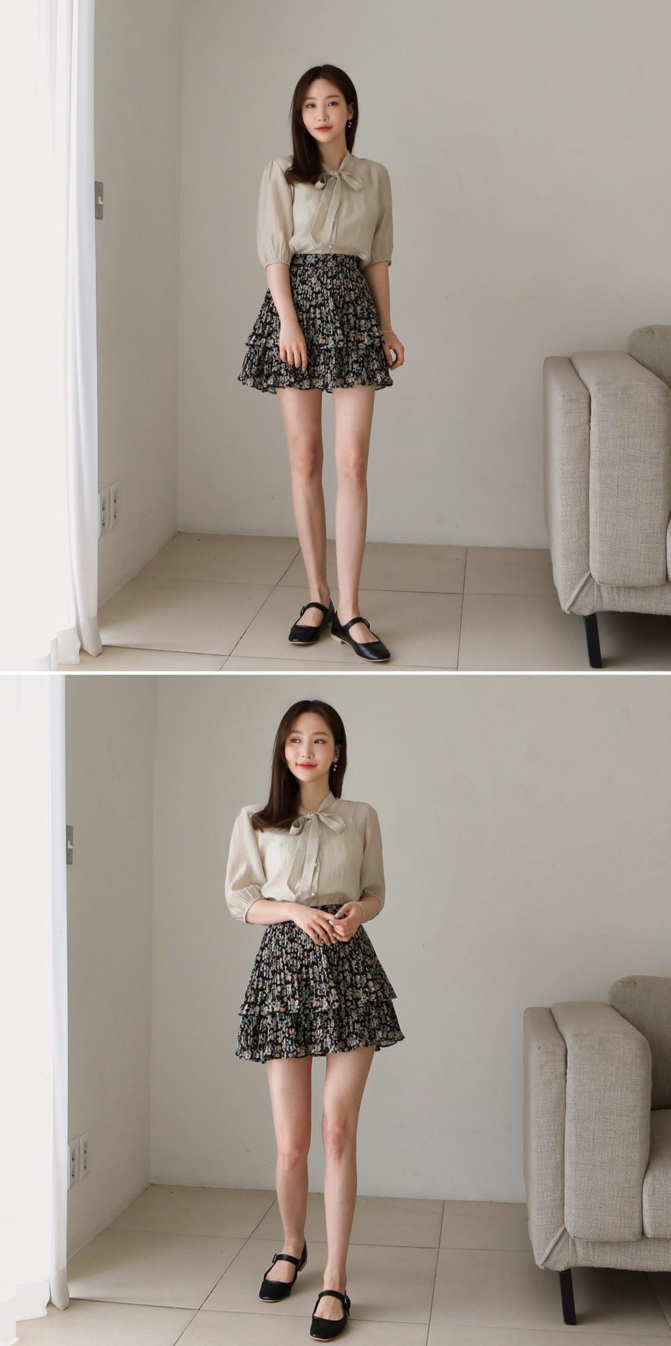 Flower pleated cancan skirt