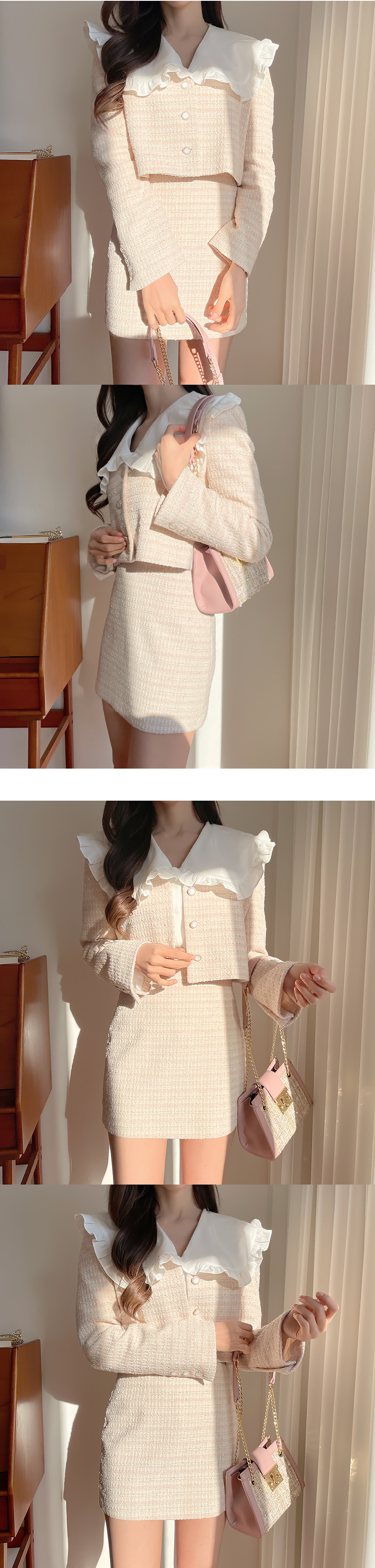 Lily pintuck frill collar blouse 2color