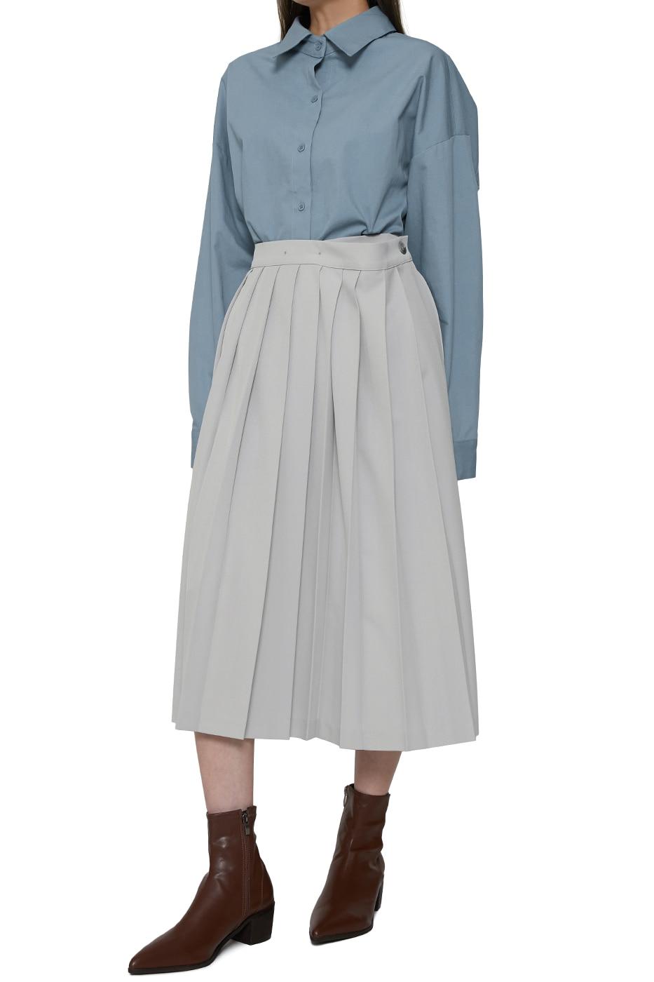 Live pleated wrap midi skirt