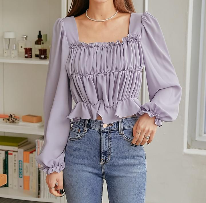 Shirred Long-Sleeved Blouse