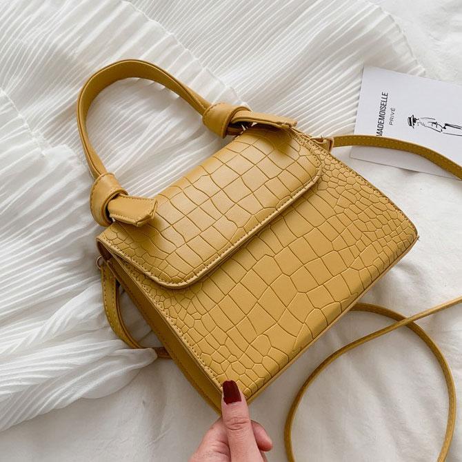 Miel crocodile pattern knot mini square shoulder bag