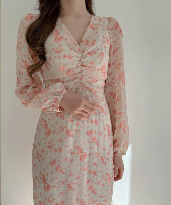 Milk Flower Shirring Long Dress 2color
