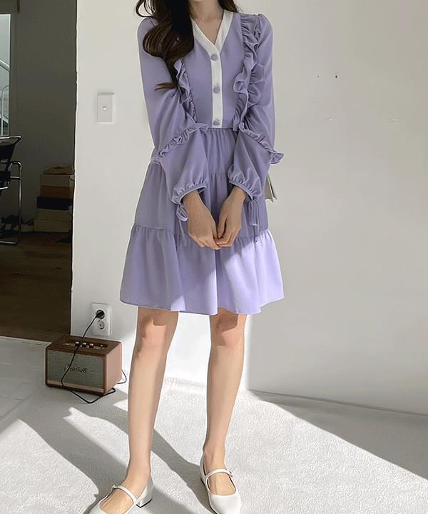 Mabe Shirring Ribbon Cancan Dress 2color