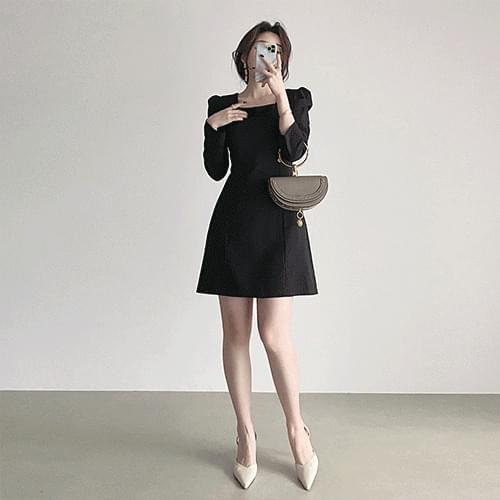 Thin Spandex Puff Square Neck Dress 3color
