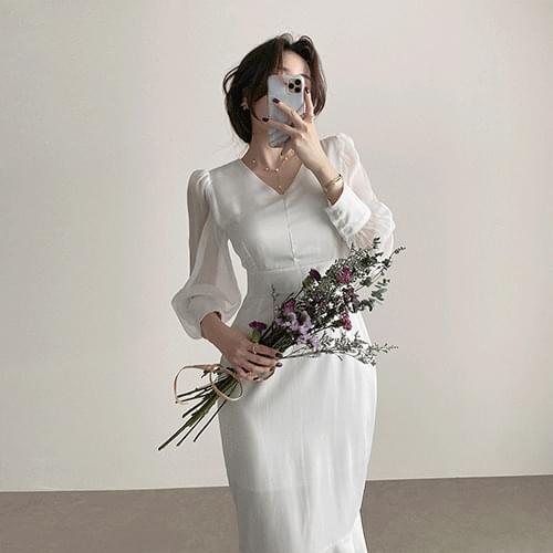 Kanadaran Puff Chiffon Shirring Guest Look Self Wedding Mermaid Dress