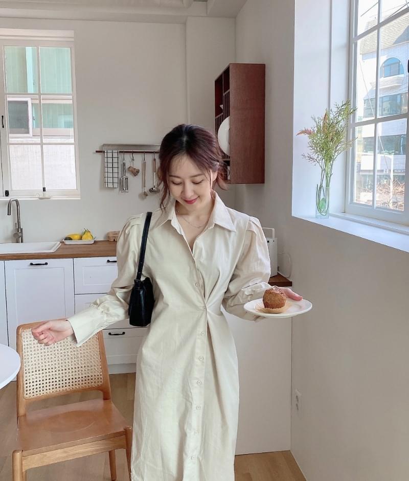 Flat side button shirt Dress
