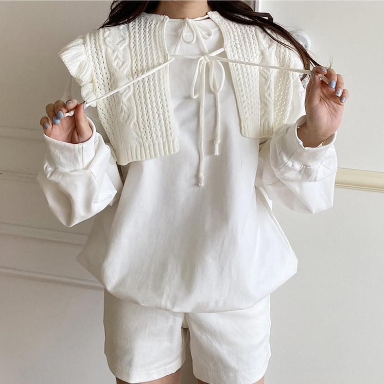 韓國空運 -  Knitwear Cape T-shirt SET 長袖上衣