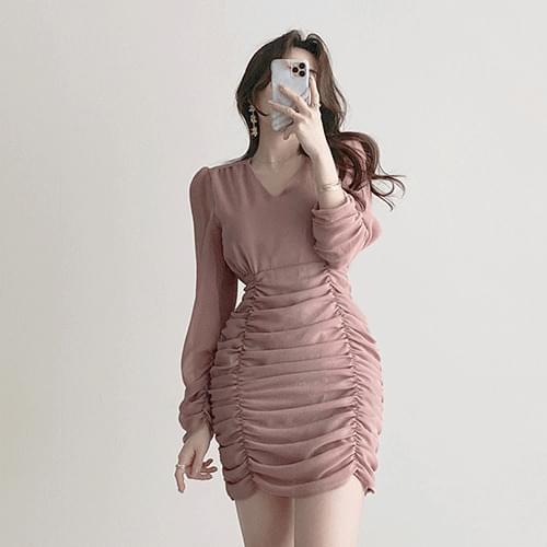 Kanadaran Yeori Nudy V-Neck Shirring Chiffon Dress 2color