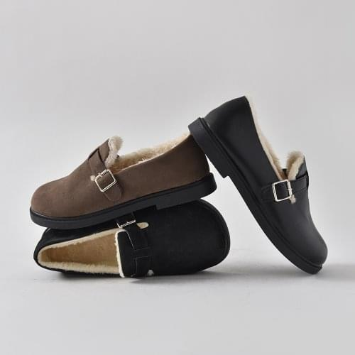 Mars fur lining buckle cold protection loafers