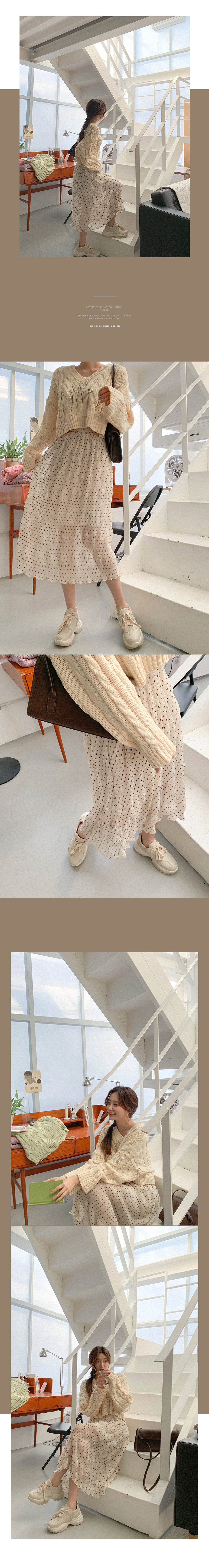 Exciting Flower Pleated Long Skirt